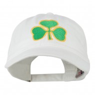 St. Patrick's Day Clover Embroidered Washed Cap - White