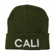 Wording of Cali Embroidered Beanie - Olive
