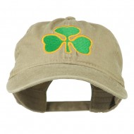 St. Patrick's Day Clover Embroidered Washed Cap - Khaki