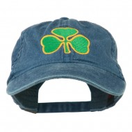 St. Patrick's Day Clover Embroidered Washed Cap - Navy