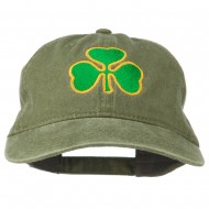 St. Patrick's Day Clover Embroidered Washed Cap - Olive Green