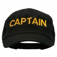 Captain Embroidered Enzyme Army Cap - Black