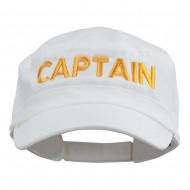 Captain Embroidered Enzyme Army Cap - White