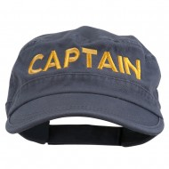 Captain Embroidered Enzyme Army Cap - Grey
