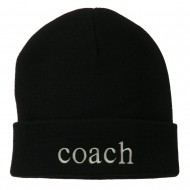 Coach Embroidered Long Beanie - Black