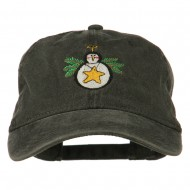 Christmas Ornament Snowman Embroidered Washed Dyed Cap - Black