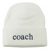 Coach Embroidered Long Beanie - White