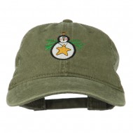 Christmas Ornament Snowman Embroidered Washed Dyed Cap - Olive Green