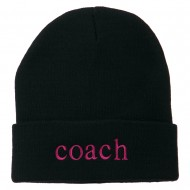 Coach Embroidered Long Beanie - Navy