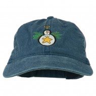 Christmas Ornament Snowman Embroidered Washed Dyed Cap - Navy