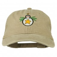 Christmas Ornament Snowman Embroidered Washed Dyed Cap - Khaki
