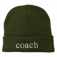 Coach Embroidered Long Beanie - Olive