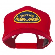 Captain Oak Leaf Military Patched Mesh Back Cap - Red