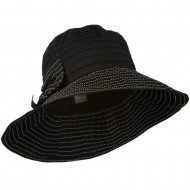 Women's Crushable Polyester Hat with Large Bow Accent - Black