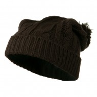 Cable Knit Hat with Pom Pom - Brown