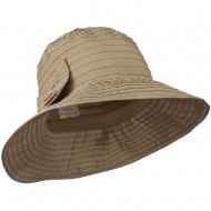Women's Crushable Polyester Hat with Large Bow Accent - Taupe