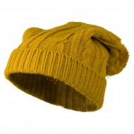 Cable Knit Hat with Pom Pom - Yellow