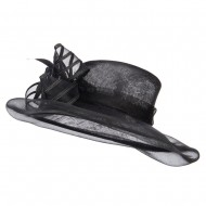 Crin Flower Feathers Sinamay Hat - Black