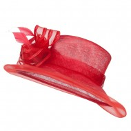 Crin Flower Feathers Sinamay Hat - Red