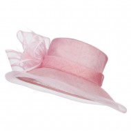 Crin Flower Feathers Sinamay Hat - Pink
