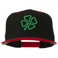 3D Clover Embroidered Two Tone Snapback Cap - Black Red