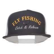 Catch Release Fly Fishing Embroidered Mesh Cap - Charcoal White