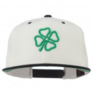 3D Clover Embroidered Two Tone Snapback Cap - Natural Black