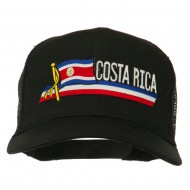 Costa Rica Flag Patched Mesh Cap - Black