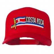 Costa Rica Flag Patched Mesh Cap - Red