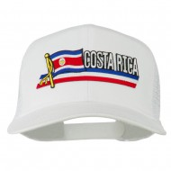 Costa Rica Flag Patched Mesh Cap - White