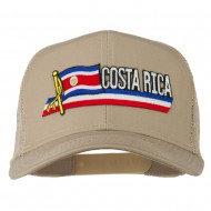 Costa Rica Flag Patched Mesh Cap - Khaki