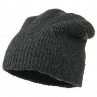 Wool Color Speckled Long Beanie - Charcoal