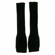 Long Sleeve Cable Stitch Arm Warmer - Black