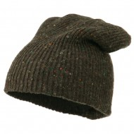 Wool Color Speckled Long Beanie - Brown