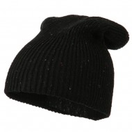 Wool Color Speckled Long Beanie - Black