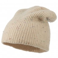 Wool Color Speckled Long Beanie - Ivory
