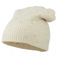 Wool Color Speckled Long Beanie - Beige