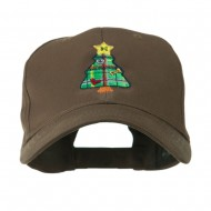 Christmas Tree with Decoration Embroidered Cap - Brown