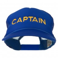 Captain Embroidered Foam Front Mesh Back Cap - Royal