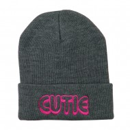 Wording of Cutie Embroidered Beanie - Grey