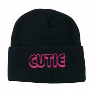 Wording of Cutie Embroidered Beanie - Navy
