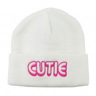 Wording of Cutie Embroidered Beanie - White