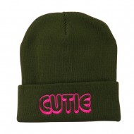 Wording of Cutie Embroidered Beanie - Olive