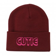 Wording of Cutie Embroidered Beanie - Maroon