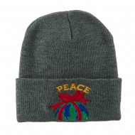Christmas World Peace Embroidered Beanie - Grey