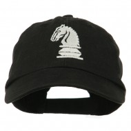 Chess Knight Embroidered Pet Spun Washed Cap - Black