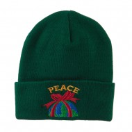 Christmas World Peace Embroidered Beanie - Green