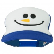Christmas Snowman Smile Embroidered Foam Cap - Royal White