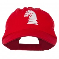 Chess Knight Embroidered Pet Spun Washed Cap - Red