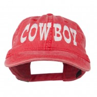 Cowboy Embroidered Washed Cap - Red